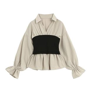 Designer Plus娃娃衫上衣女2020秋裝新款收腰韓版腰封v領長袖襯衫