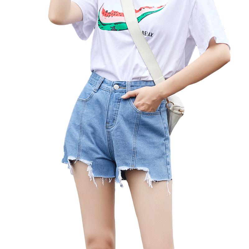 破洞牛仔女夏高腰显瘦2019潮超短裤