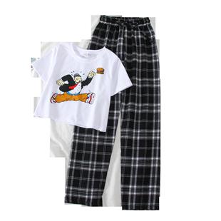 2020新款夏韓版洋氣小個子顯高時尚套裝女潮露臍T恤+闊腿褲兩件套