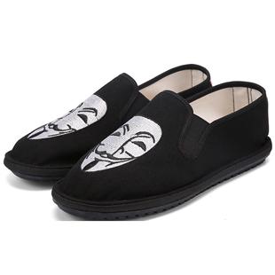 老北京刺绣男士豆豆社会帆布鞋子