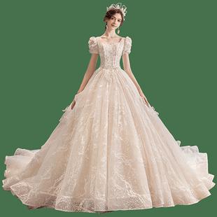 主婚紗2020新款新娘森系超仙夢幻氣質大拖尾遮手臂禮服秋冬法式輕