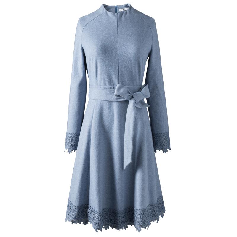 矮个子显高连衣裙女长袖中长款春秋季2019新款棉立方收腰气质裙子