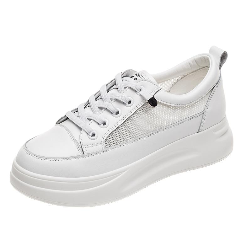 牛皮网纱小白鞋潮夏季厚底透气新款百搭爆款春2021内增高真皮女鞋