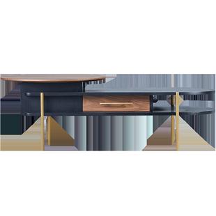 輕奢北歐風升降摺疊茶几實木現代簡約橢圓形小户型電視櫃茶几組合