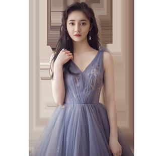 明星同款禮服2020新款長款主持人禮服裙女宴會18歲女生禮服連衣裙
