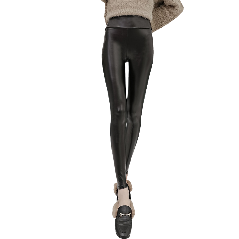 高端定制高档PU皮裤女2019冬季新款高腰打底外穿加绒加厚加肥大码