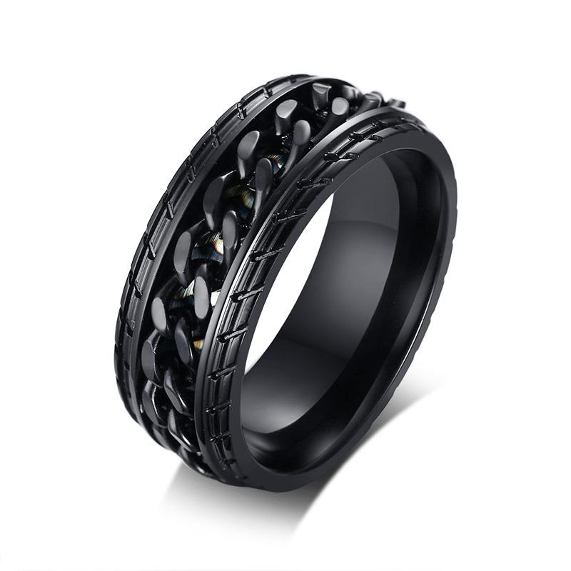 可转动创意轮胎转运钛钢戒指男士单身食指环韩版潮男个性霸气刻字