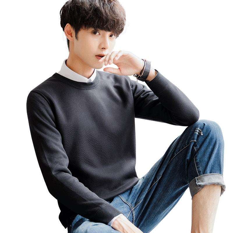 雅鹿秋冬季男士毛衣韩版时尚加绒加厚保暖针织衫套头圆领上衣男装