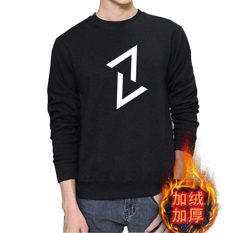 冬季男士加绒保暖长袖圆领青少年卫衣外套T恤学生套头加厚大码
