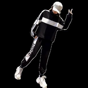 網紅原宿套裝女寬鬆怪味少女bf嘻哈風格ins潮休閒運動港風兩件套