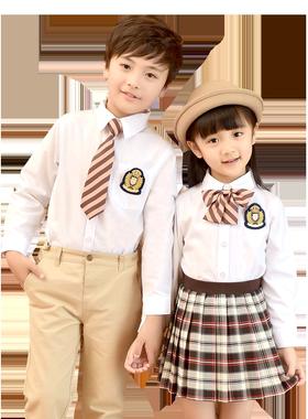 卷卷毛校服套装男女童学院风衬衫