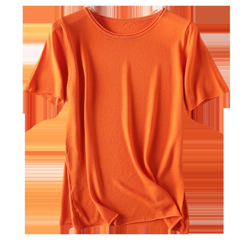 冰丝针织t恤女短袖宽松夏季韩版女装2019新款百搭薄款打底上衣