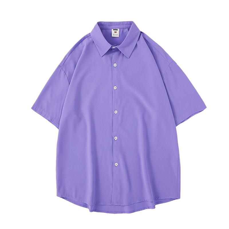 @港仔文艺男 冰丝短袖衬衫夏季薄款宽松白色DK学院风痞帅衬衣外套