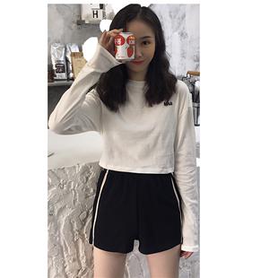 短裤+长袖短款女韩版秋装ins t恤