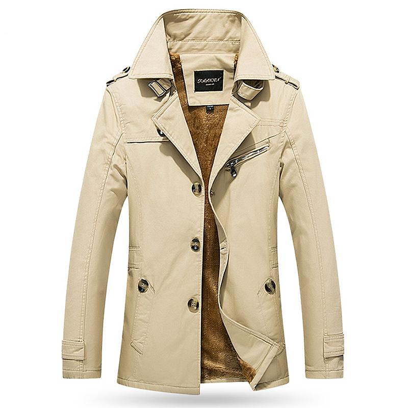 2019冬季中长款风衣英伦风外套加绒风衣加厚大码军工夹克外套潮牌