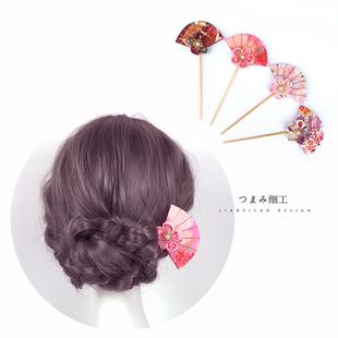 和風簪子頭飾和風發飾和風扇子花朵簪子雙面棍簪盤發少女簪子