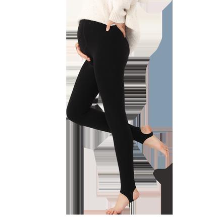 秋冬新款孕妇裤加绒黑色无缝打底裤