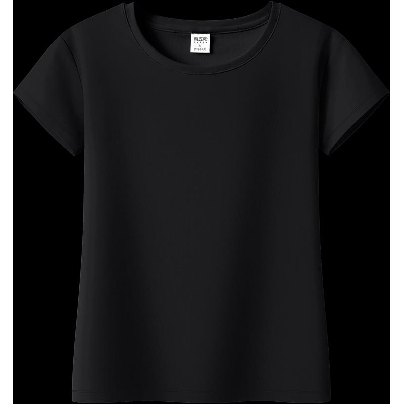 纯黑色小圆领短袖t恤夏天打底衫