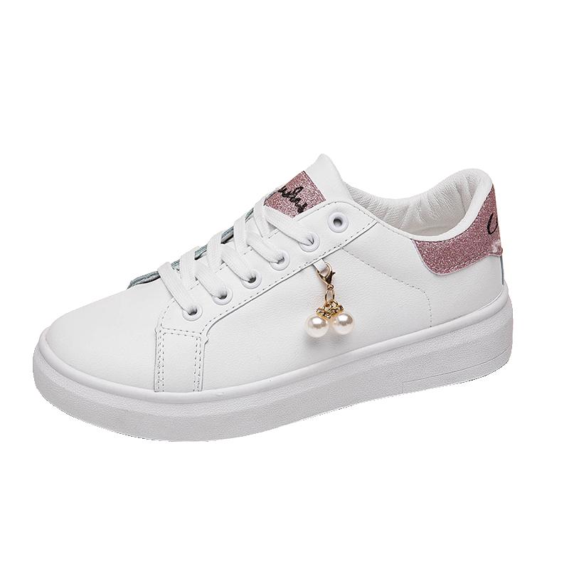 女大童板鞋2019年新款10少女孩小白鞋12皮面13初中学生16岁运动鞋
