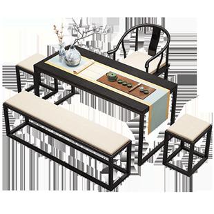 新中式茶桌椅組合簡易現代簡約禪意套裝中式功夫家用茶台實木茶桌