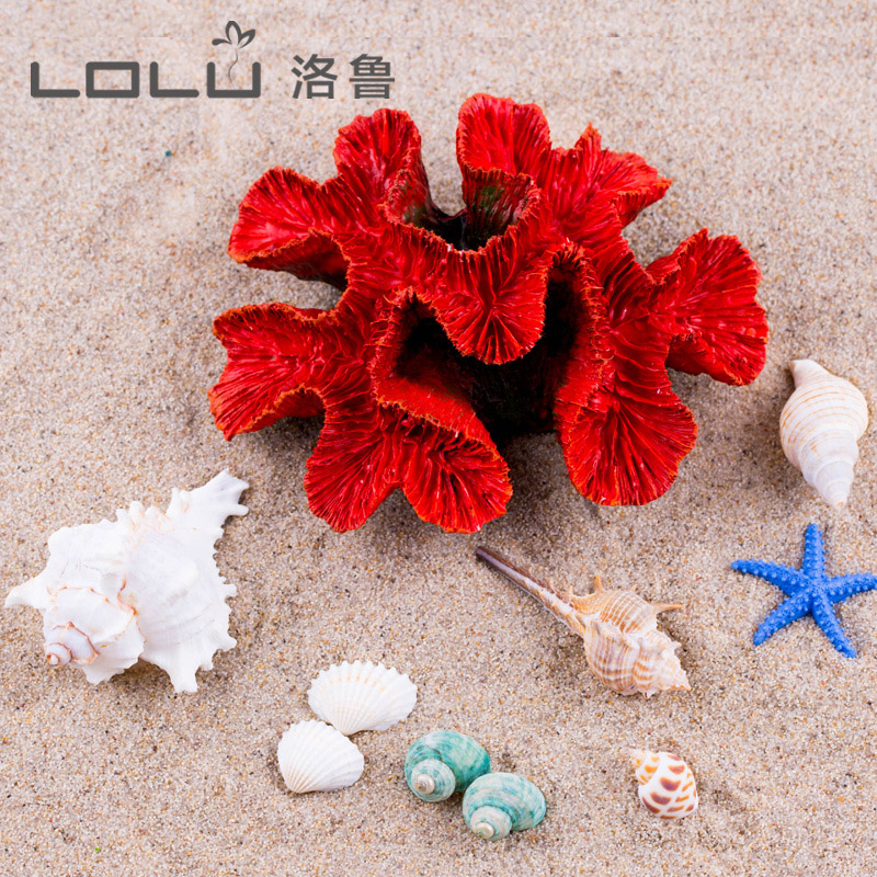 。  Vase fish tank decoration home landscaping natural shell conch starfish resin coral ornament handicraft