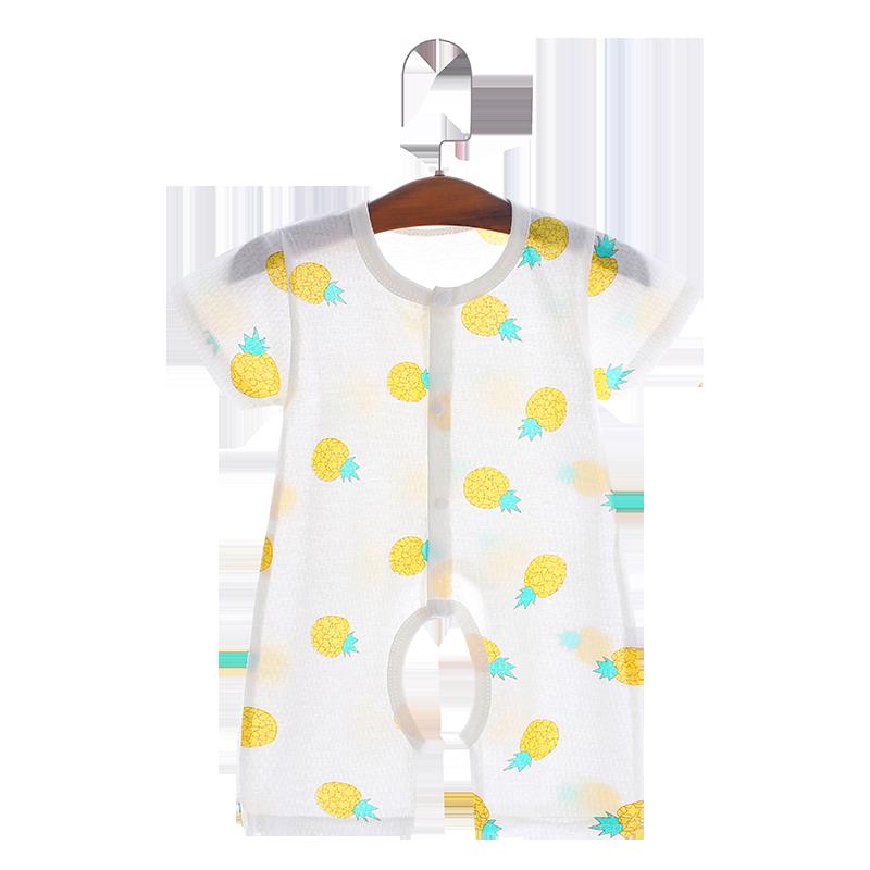 婴儿夏季短袖连体衣服纯棉新生儿哈衣男女宝宝睡衣空调服薄款夏装