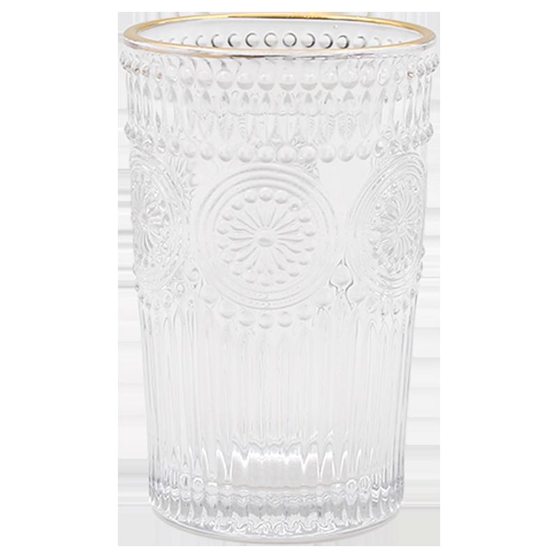 复古风浮雕金边玻璃杯茶叶杯果汁牛奶饮料杯ins笔筒化妆刷桶