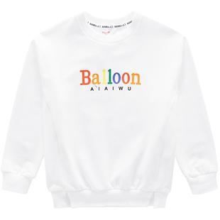 艾艾屋男童潮款百搭白色衞衣秋季兒童長袖T恤上衣2019新款KIAD12