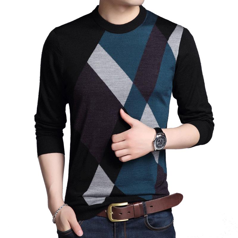 长袖t恤男秋季加绒中年爸爸装6羊毛针织衫开领纯色体恤衫宽松上衣