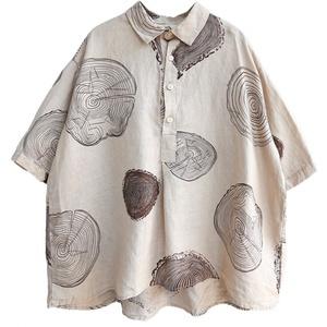 2021复古纯亚麻女短袖款波点麻衬衫