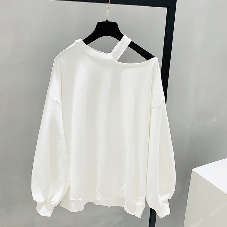 Spring new 2019 loose Korean style simple off shoulder sweater design sense Lantern Sleeve mid long foreign style top women