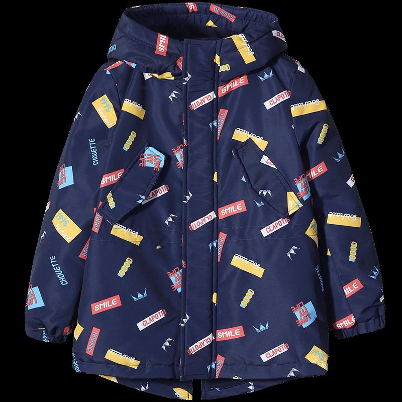 水孩儿秋冬装儿童保暖加厚男童印花大童连帽风衣男冲锋衣外套
