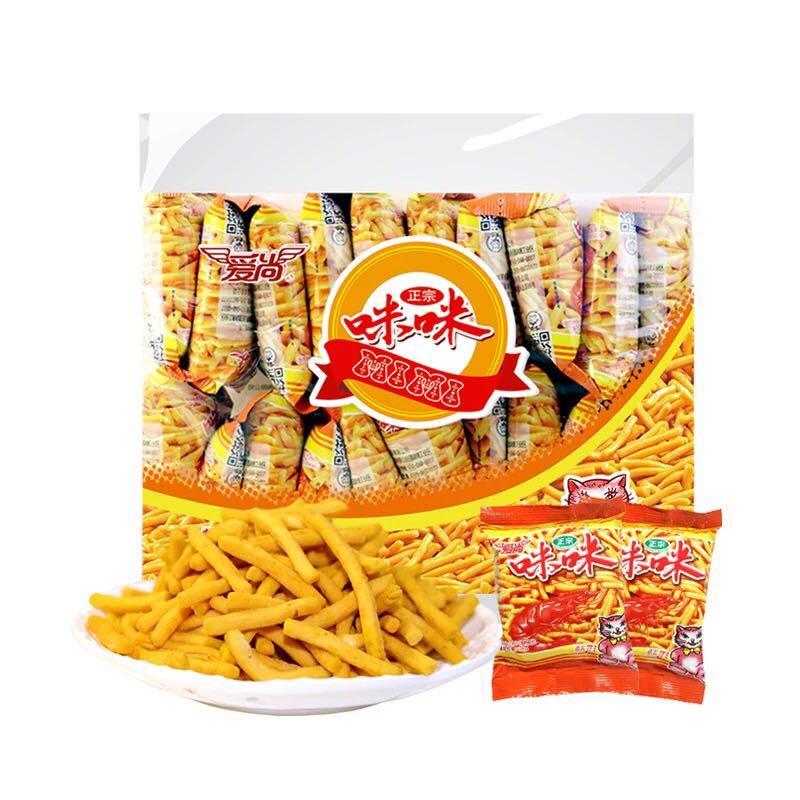 爱尚咪咪虾条蟹味粒组合整箱大包装休闲膨化零食散装小吃童年怀旧