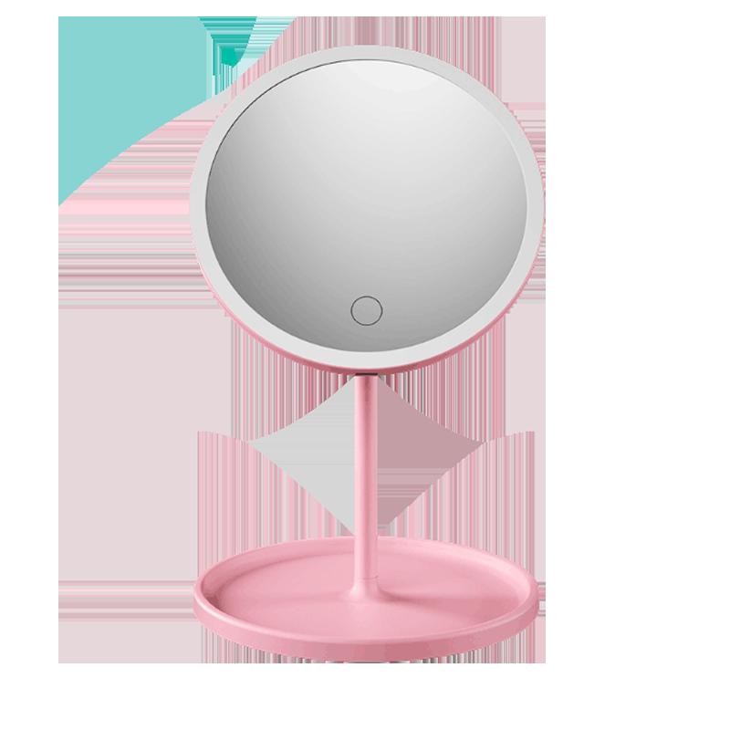 led化妆镜带灯学生小镜子台式网红女补光宿舍桌面便携折叠梳妆镜