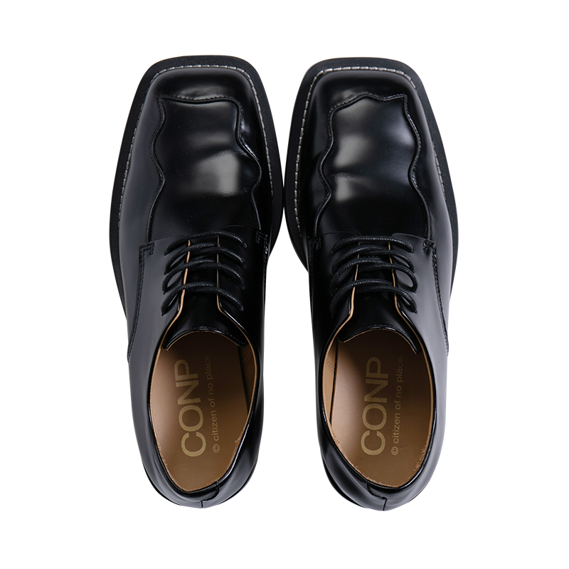 CONP Curved Square Toe Derby Shoes不对称曲线方头德比鞋苏五口