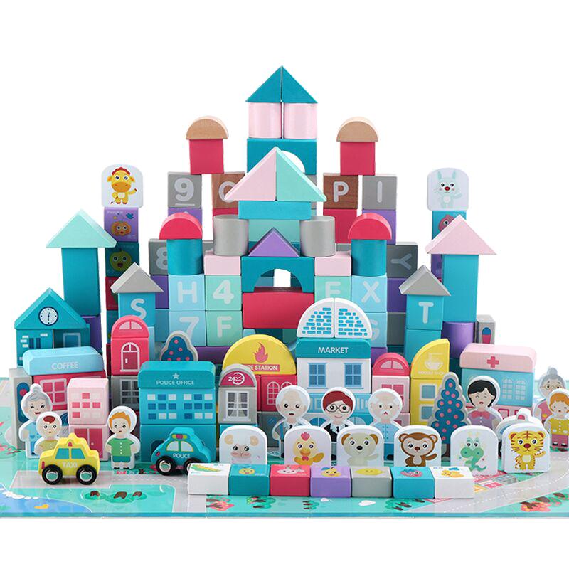 108粒大颗粒幼儿童木制积木拼装益智玩具