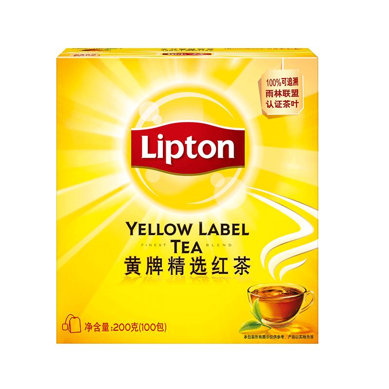 T立顿黄牌红茶茶包斯里兰卡茶叶袋泡茶100包/袋