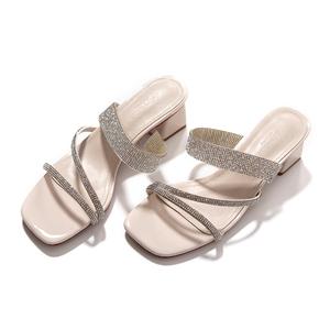 烈儿Lierkiss【水晶鞋】超纤皮进口水钻网红凉鞋半托 201XZ2AG1