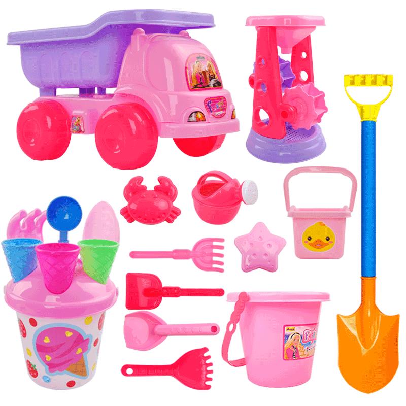 兒童沙灘玩具車套裝大號寶寶玩土挖沙漏鏟子桶海邊工具決明子女孩