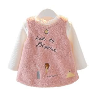 韓版0-1-2-3歲女寶寶秋冬裝女童加厚套裝背心裙兩件套嬰幼兒衣服