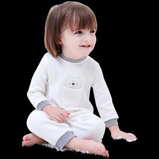 新生嬰兒秋裝寶寶連體衣服加厚夾棉爬服男一歲女秋冬純棉潮服哈衣