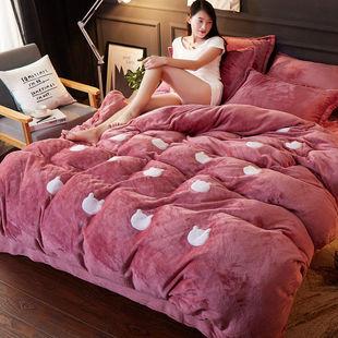 床上四件套冬季珊瑚绒公主风米色粉红色商用法兰绒床品深蓝色ab面图片