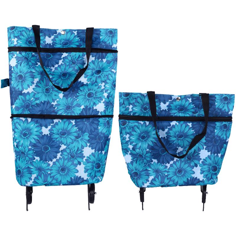 欣隆买菜车手拉包折叠拖包伸缩式两用带轮购物袋买菜包旅行车拉车