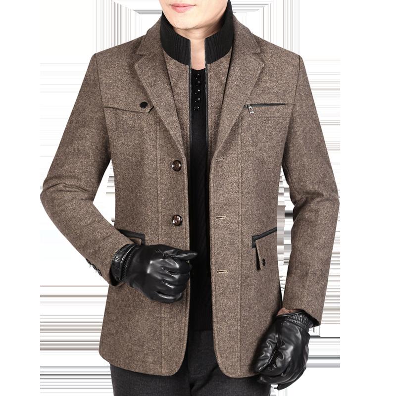 爸爸冬装外套男士中老年羊毛夹克加厚秋冬中年中长款休闲呢子上衣