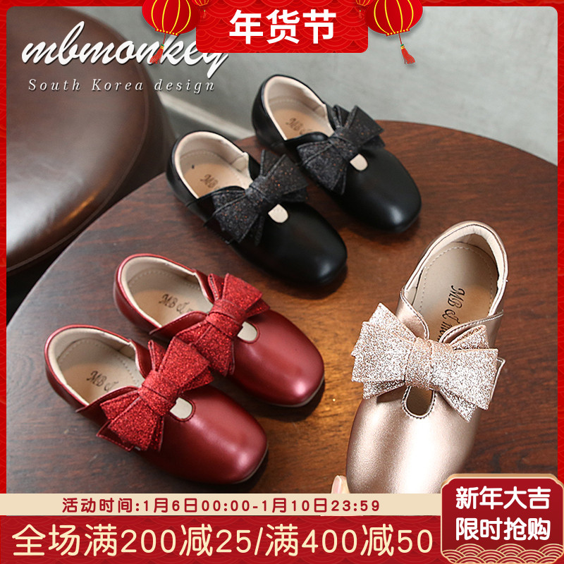 。小女孩鞋子2019春秋新款红色女童鞋子单鞋儿童皮鞋公主鞋女童软