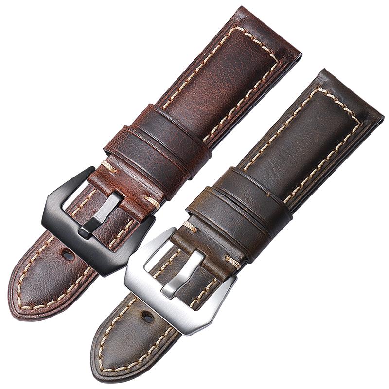 适用沛纳海PAM111真皮手表带胖大海手工复古油蜡皮美度表带22 24