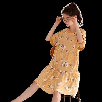 睡裙夏纯棉短袖甜美公主风睡衣裙子