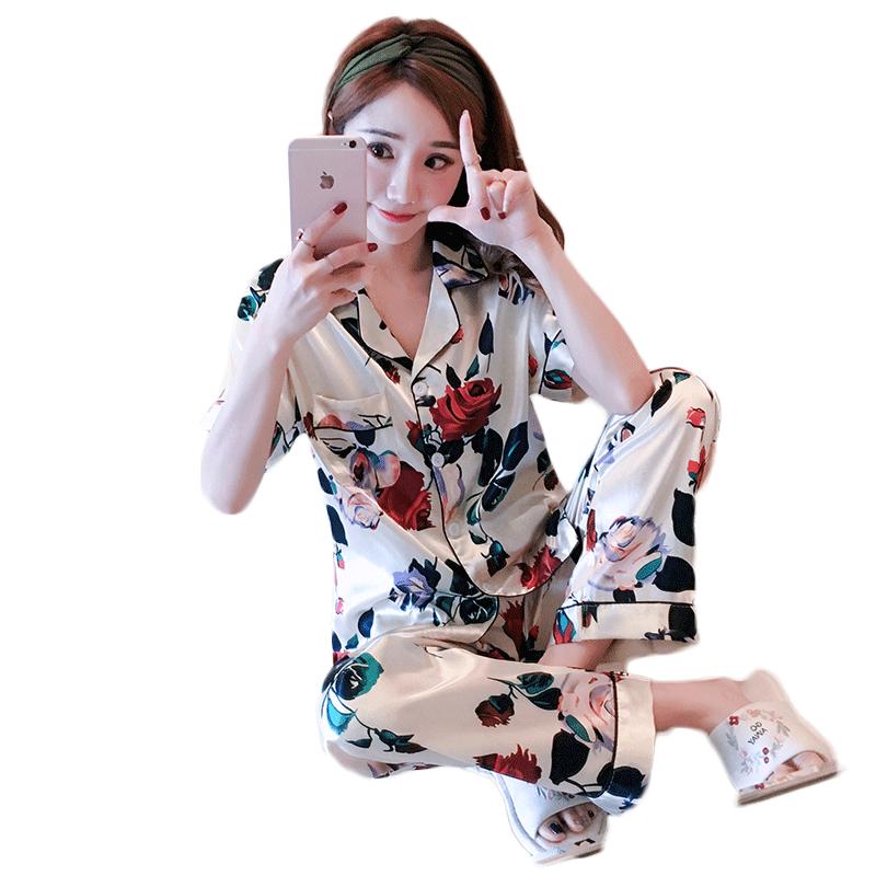 梓妍冰丝睡衣女夏季春秋韩版