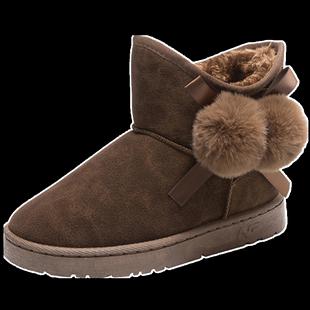 寄冬2019冬季兔毛毛球加绒女靴子