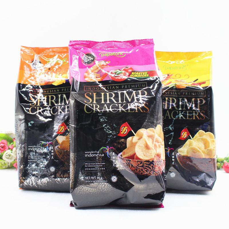 3包 印尼进口啪啪通鲜虾片膨化薯片网红零食休闲食品办公小吃85g